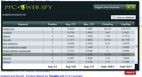 Pay Pay Click Web Spy Results