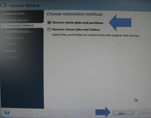 Restore entire disk and partitions