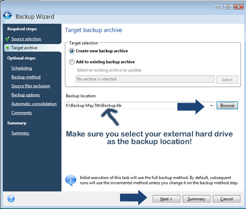 how to delete backup from external hard drive